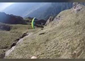 Parachuting through mountains