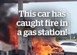 This car has caught fire in a gas station!